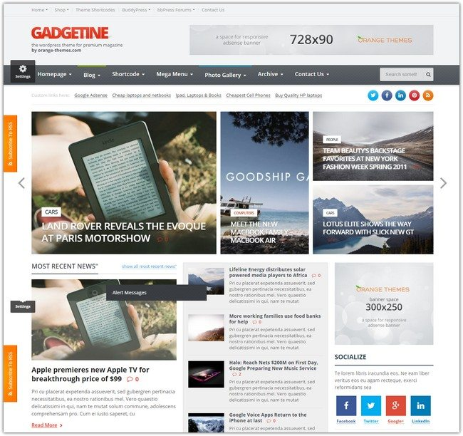 Gadgetine WordPress Theme for Premium Magazine