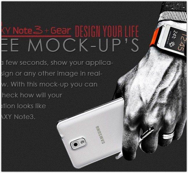 Galaxy Note 3 + Gear Free Mock-Up. PSD+AI+SVG