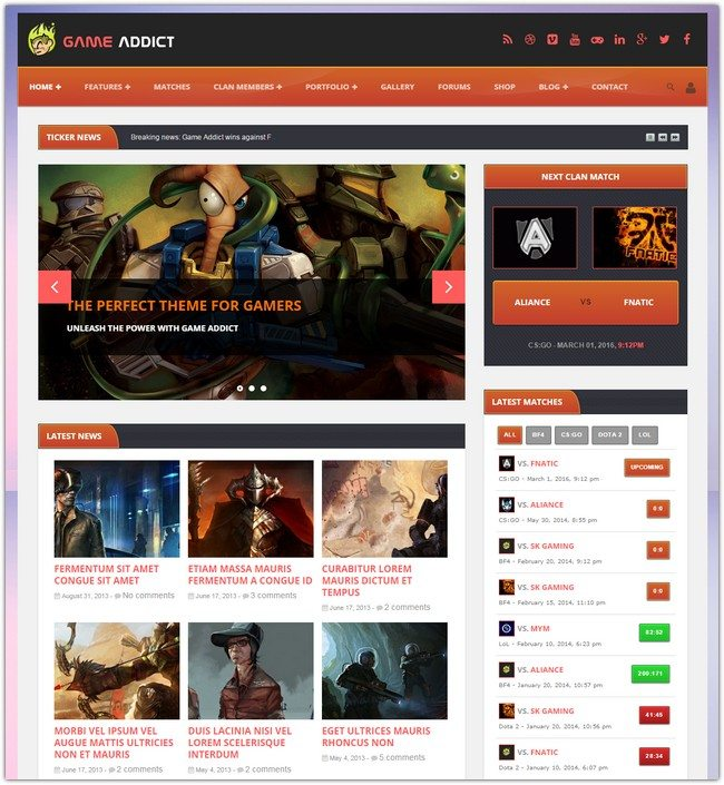 Game Addict – Clan War Gaming Theme
