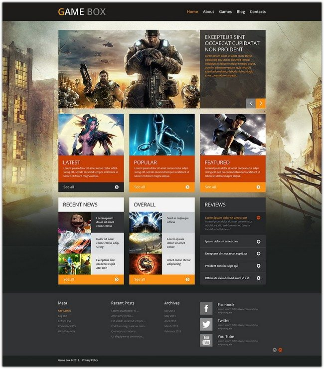 Game Portal box WordPress Theme