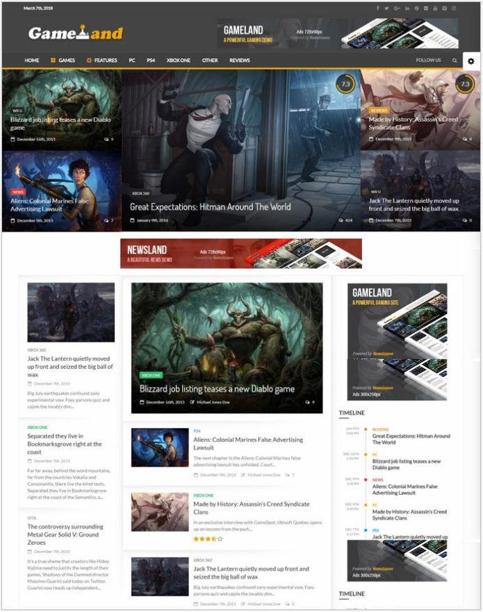 Gamer - WordPress Theme