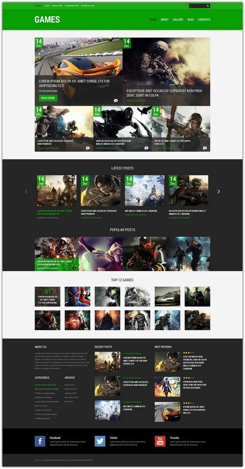 Games Responsive WordPress Theme monster