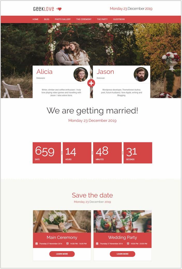GeekLove - A Responsive WordPress PHP Wedding Theme