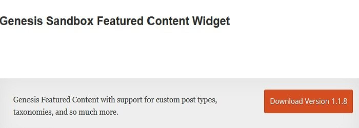 Genesis Sandbox Featured Content Widget