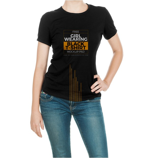 Girl Wearing Black T-Shirt Mock-up Psd