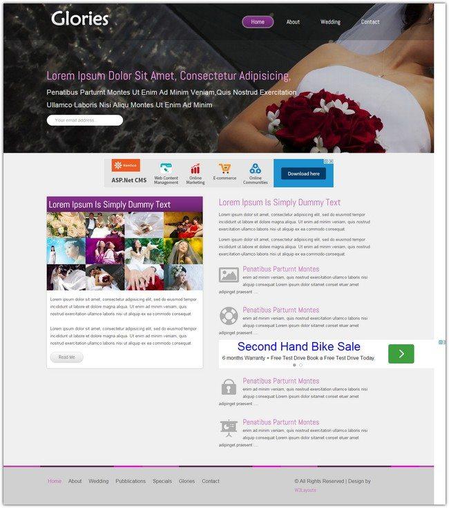 Glories wedding planner Mobile Website Template