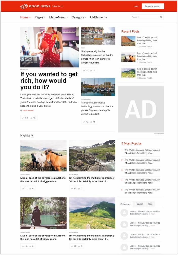 Good News Website Template