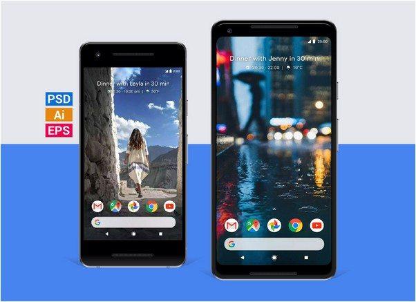 Google Pixel 2 & Pixel 2 XL Mockups