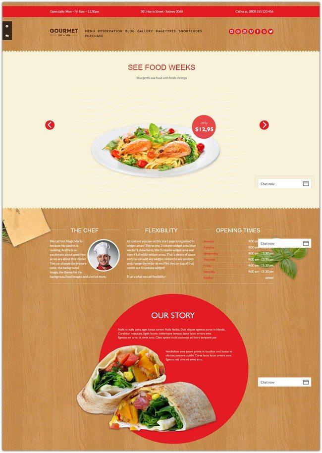 Gourmet - Restaurant Bar Hotel WordPress Theme