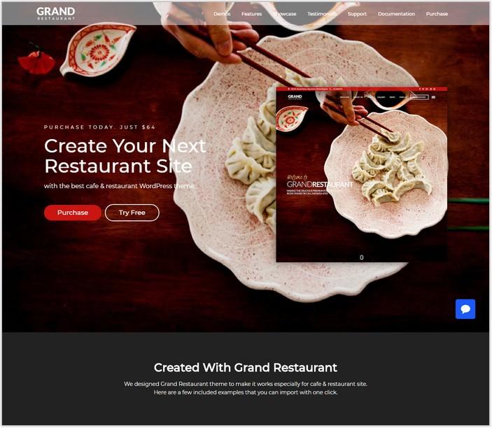 Grand Restaurant - Cafe Restaurant PHP WordPress for Restaurant