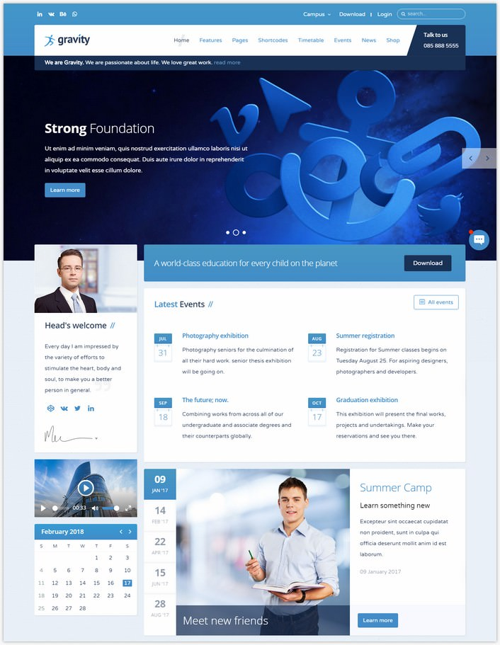 Gravity - School, Academic and University Education Joomla Template