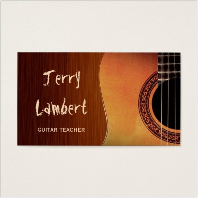 Guitarist Guitar Player Teacher Stylish Wood Look Business Card