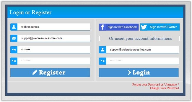 HP AJAX Login & Register Form with Social Network