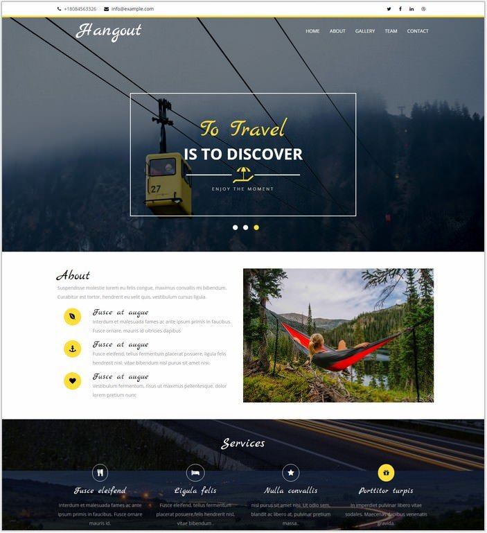 Hangout a Travel Category Web Template