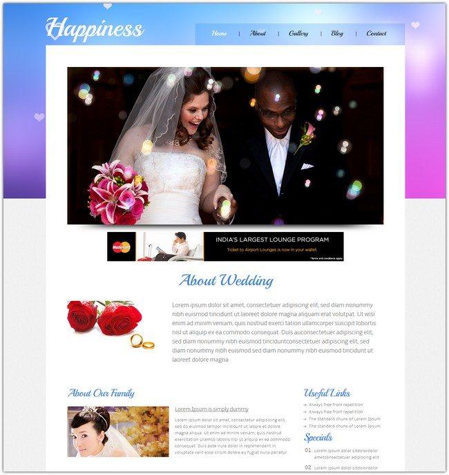 Happiness wedding planner Mobile Website Template