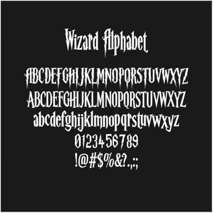 Harry Potter Alphabet, Harry Potter Font