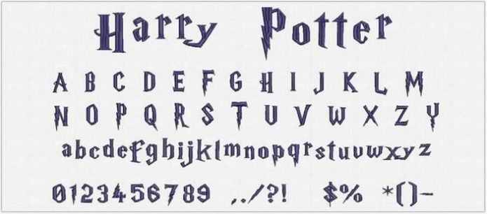 Harry Potter Font Embroidery Design