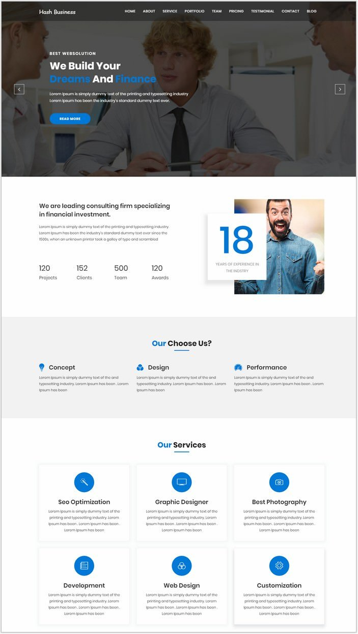 Hash Business - One Page Corporate and Business Template