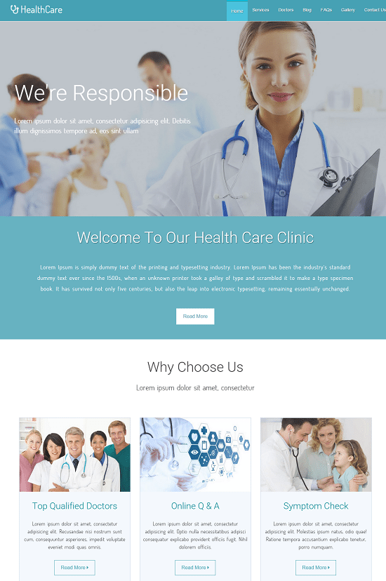 Healthcare – Medical Hospital Responsive Templates