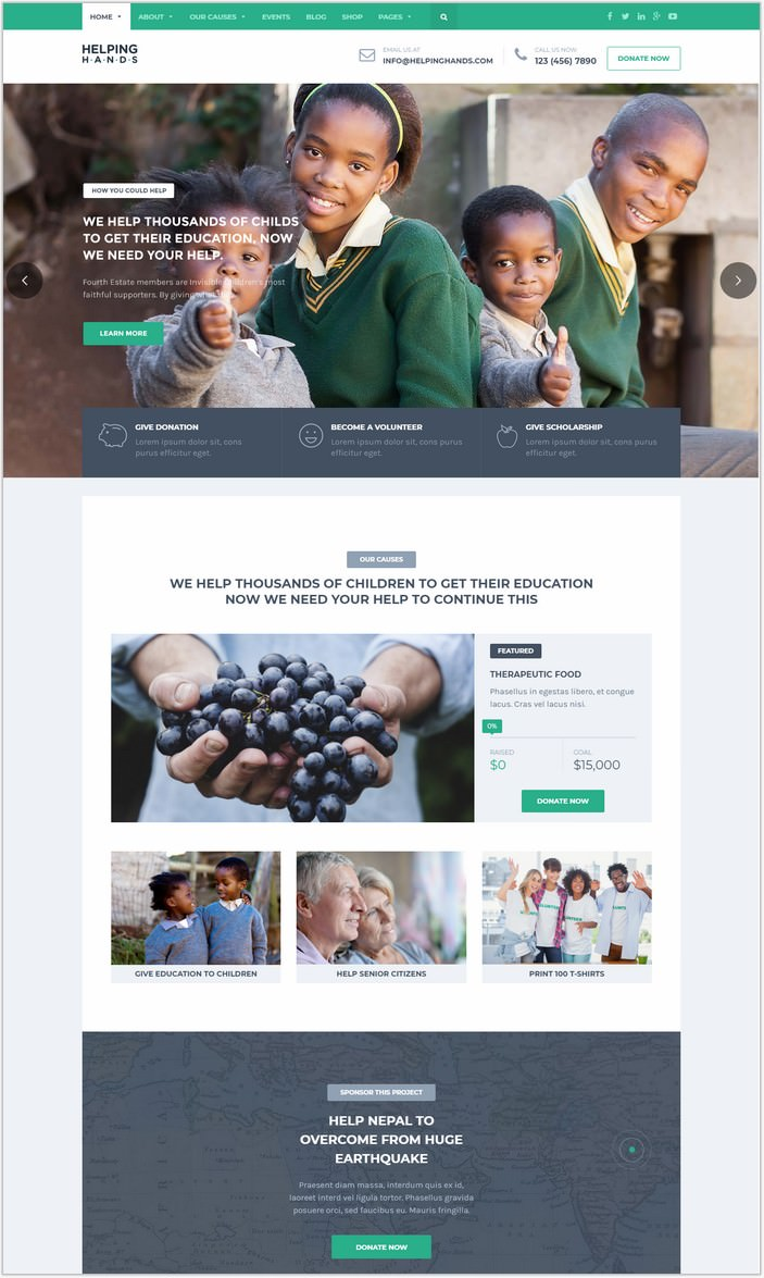HelpingHands - Charity, Fundraising, Church, NGO, Non Profit PHP Theme