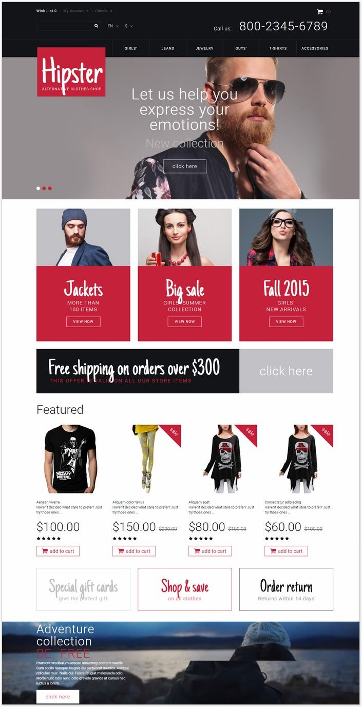 Hipster OpenCart PHP Template