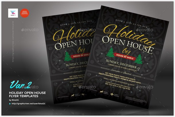 Holiday Open House Flyer Templates