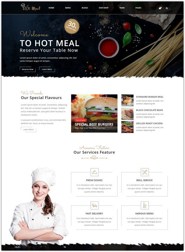 Hot-meal Restaurant and Food Corner Html Template