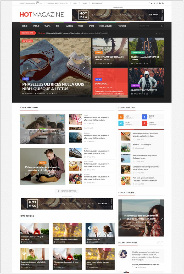 Hotmagazine - News HTML Template