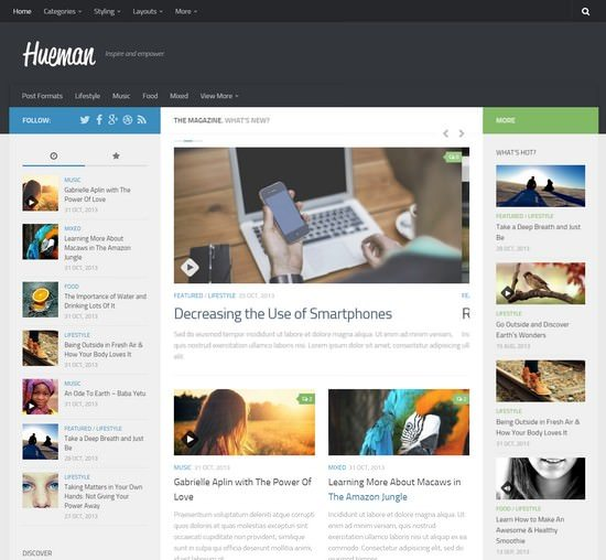 Hueman – responsive magazine wordpress theme Free
