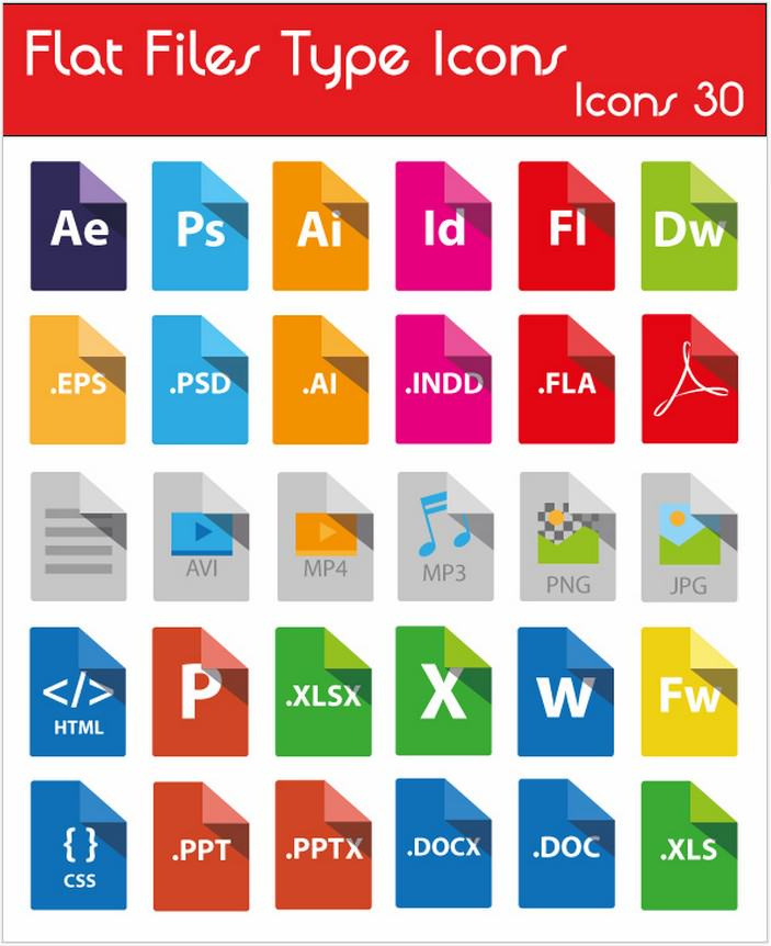 Icons File Type Flat Freebie