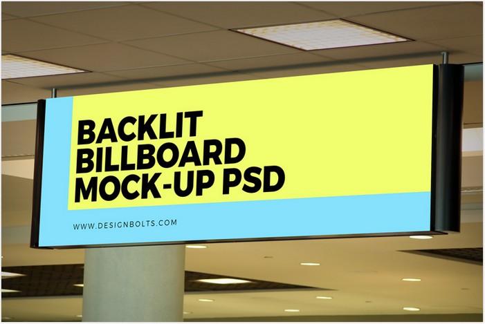 Indoor Advertising Backlit Basement Billboard Mockup