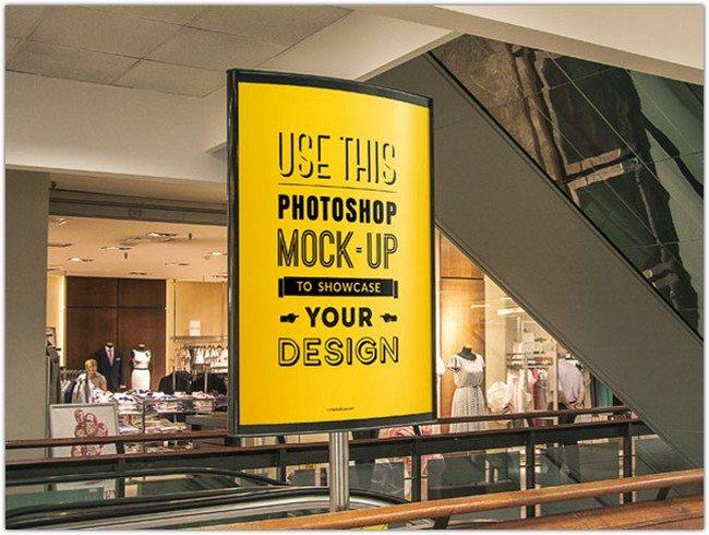 Indoor Advertising Poster MockUp