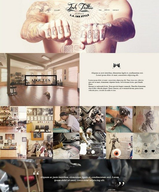Ink Tattoo Flat Bootstrap Responsive web template