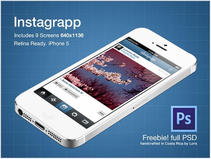 Instagrapp UI – PSD Freebie