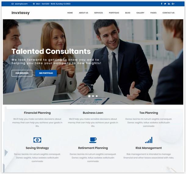 Invxtassy - Finance and Consulting WordPress Theme