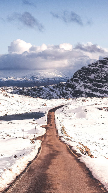 Iphone snow mountains road turn Wallpaper