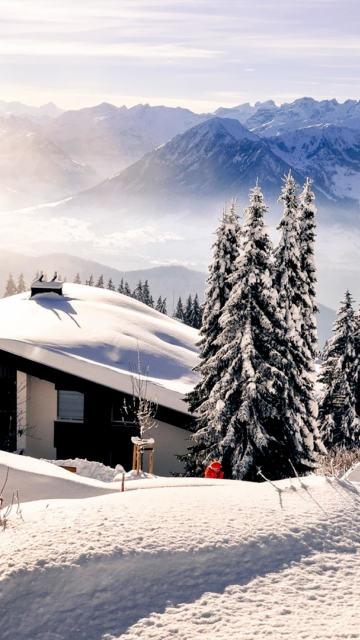 Iphone snow mountains winter landscape Wallpaper