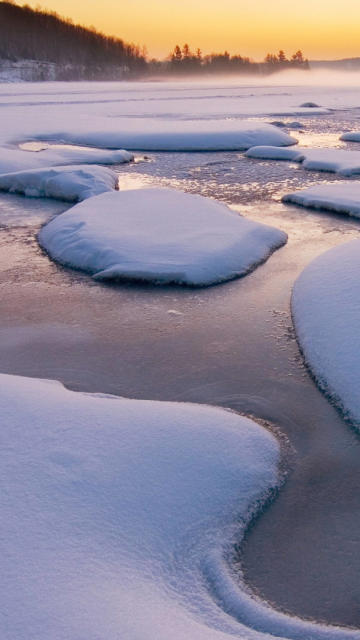Iphone snow river ice cold winter water Wallpaper