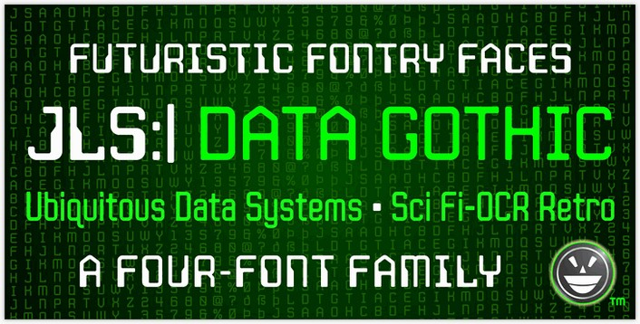 JLS Data Gothic font - by the Fontry