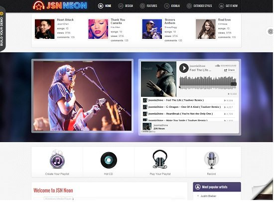 JSN Neon – Joomla Music Theme & JomSocial support