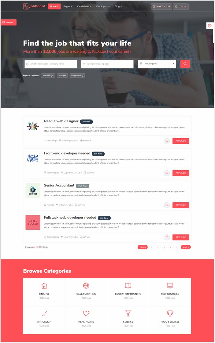 JobBoard – Bootstrap HTML5 Classified Template
