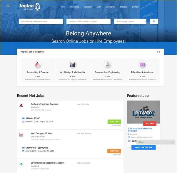 JobInn - Job Board & Directory WordPress Theme