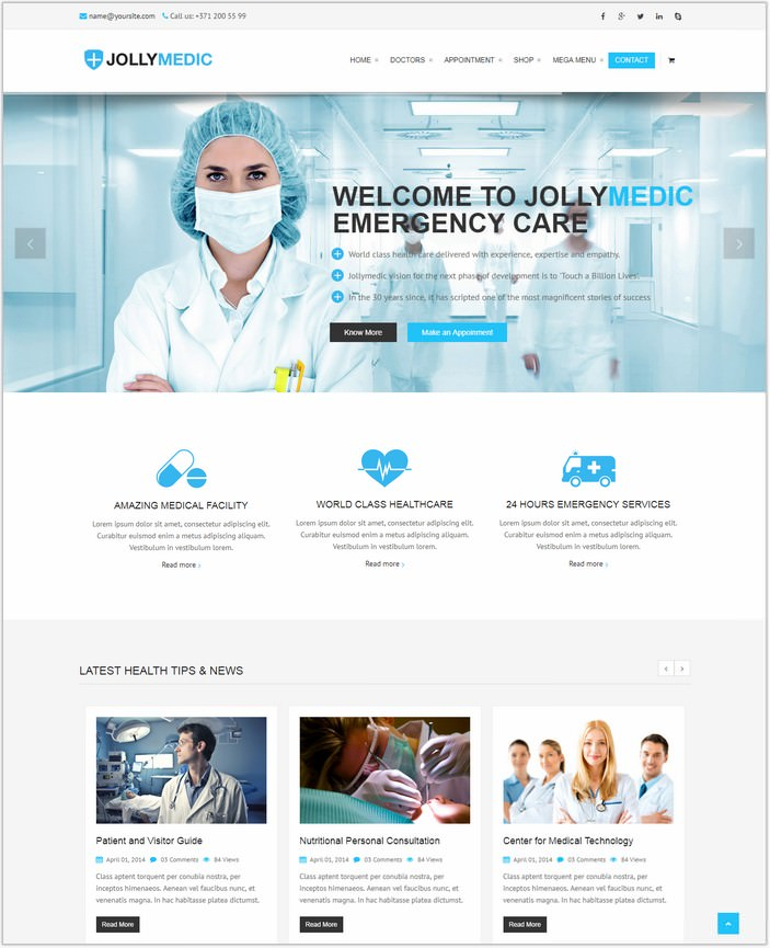 Jollymedic – Hospital Medical HTML5 PHP Website Template