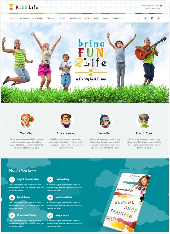 Kids Life Children WordPress Theme