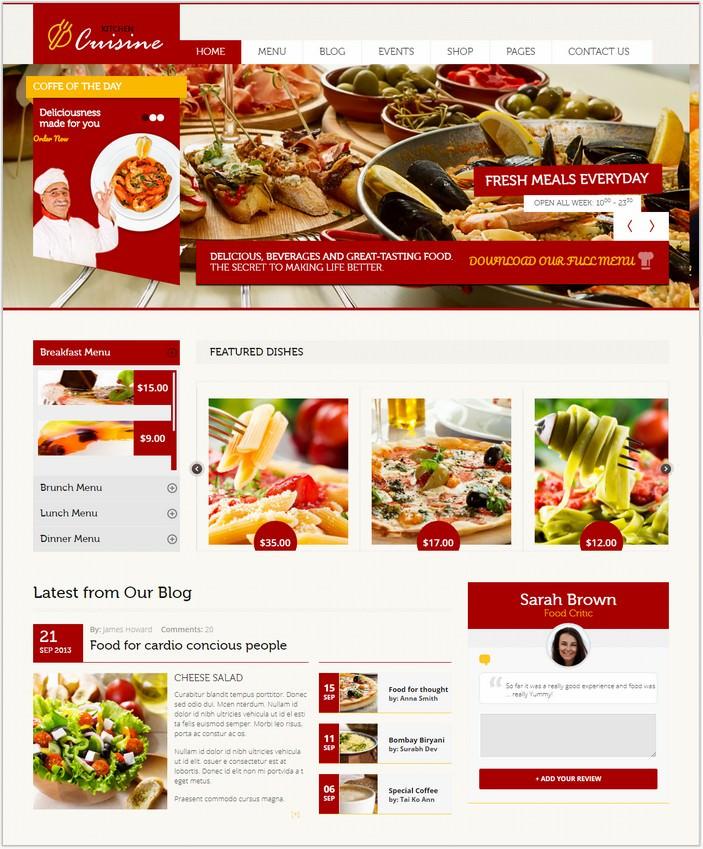 Kitchen Cuisine - Restaurants & Café HTML PHP Template