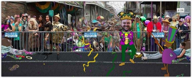 Kitschy Animated SVG Mardi Gras Parade
