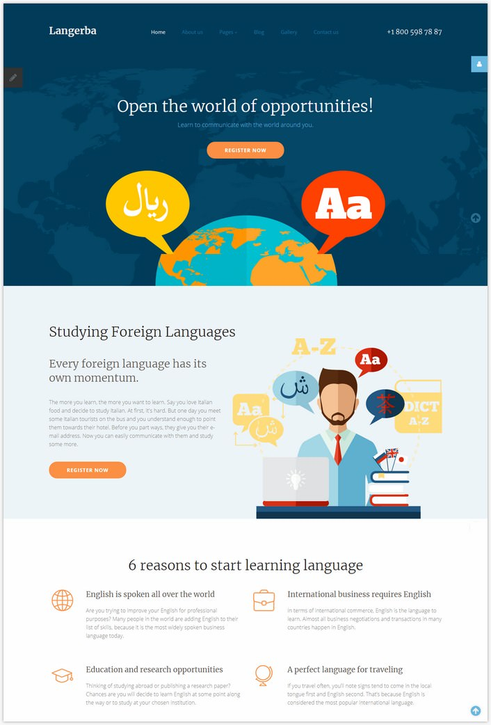 Langerba - Language School Joomla Template
