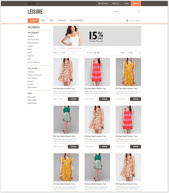Leisure - Fashion E-commerce HTML5 PHP Template