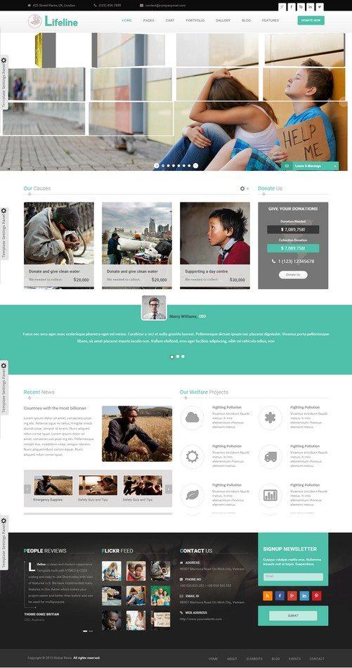 Lifeline NGO and Charity Responsive HTML Template