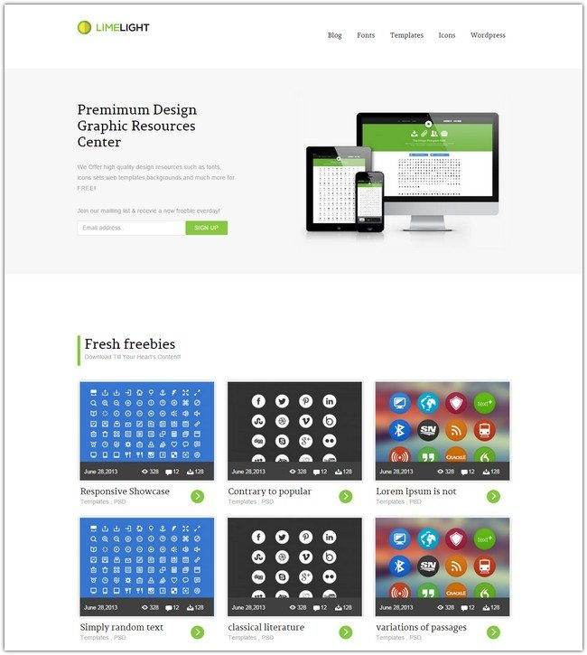 Limelight Download Gallery Responsive Website Template